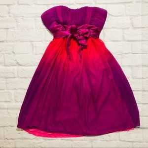 Silky Pink Strapless Chiffon High Waisted Dress